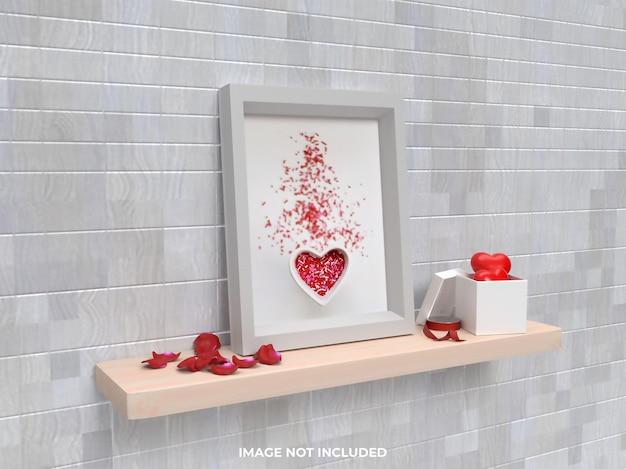 Concetto di san valentino mockup cornice vista laterale con regalo rosa e cuore