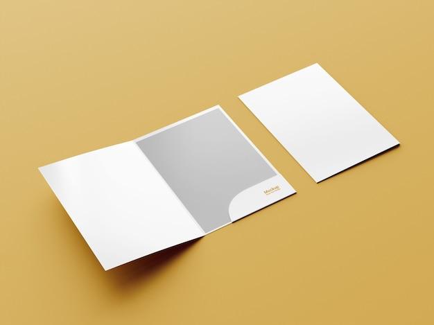 Cartella di presentazione con vista laterale o mockup di brochure bifold