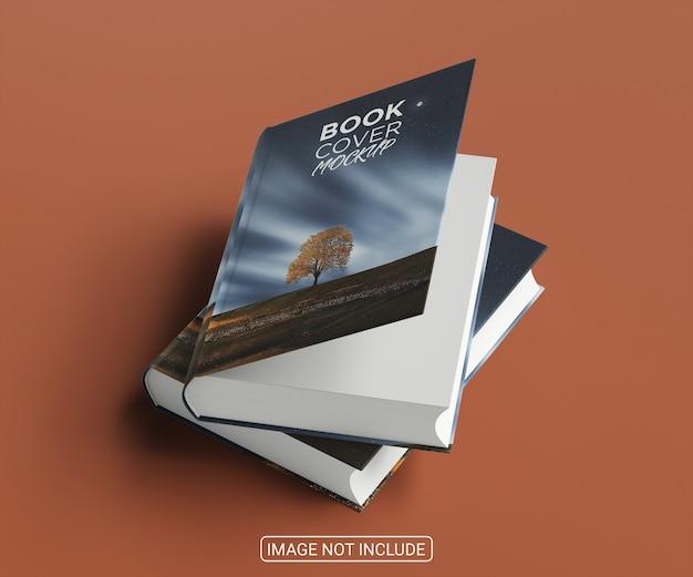 Mockup con copertina rigida del libro realistico di vista laterale su sfondo rosso chiaro