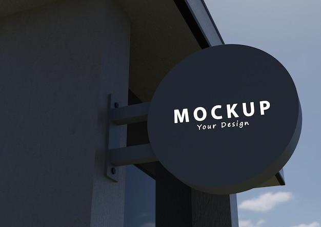 Firma circolare all'esterno di un modello di logo del negozio