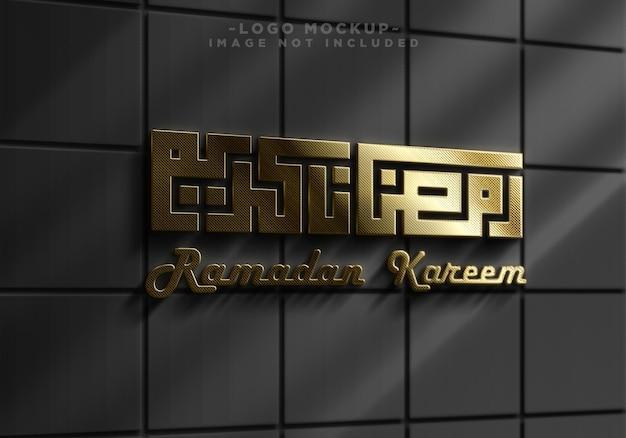 Mockup del logo realista dorato della parete del segno