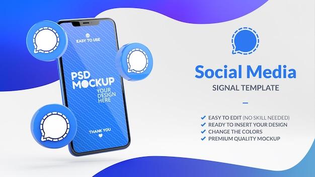 Icone delle app di segnale e mockup dello schermo del telefono per il social media marketing nel rendering 3d