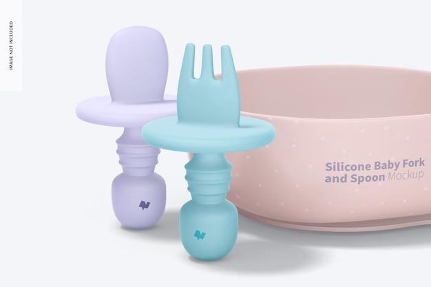 Mockup di forchetta e cucchiaio in silicone, vista frontale