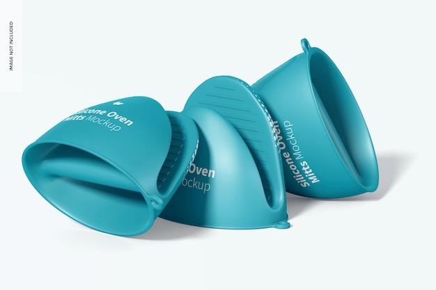 Mockup di guanti da forno in silicone, vista prospettica