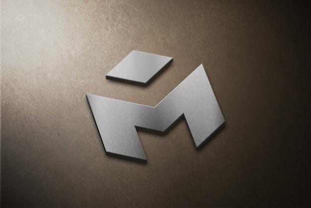 Mockup di logo 3d argento su calcestruzzo