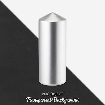 Candela d'argento su sfondo trasparente