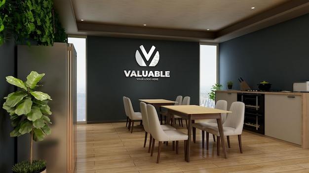 Mockup del logo aziendale in argento nell'area della dispensa dell'ufficio