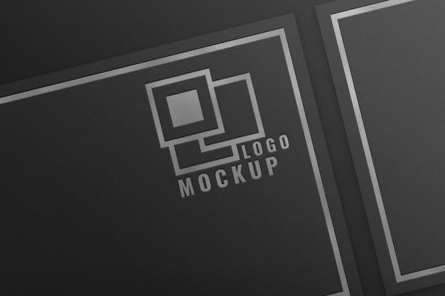 Mockup del logo in lamina d'argento