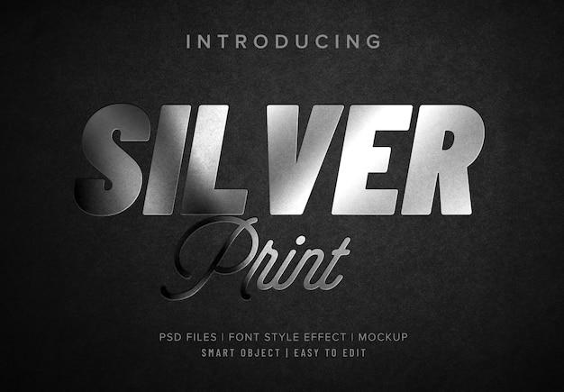 Mockup di effetto stile font hotprint argento