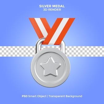 Medaglia d'argento 3d render illustrazione isolato premium psd