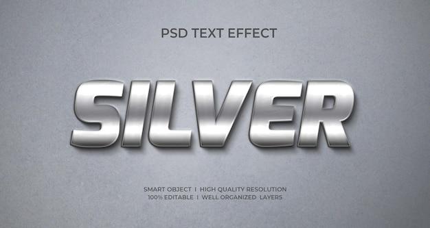 Effetto di testo 3d in stile metallo argento