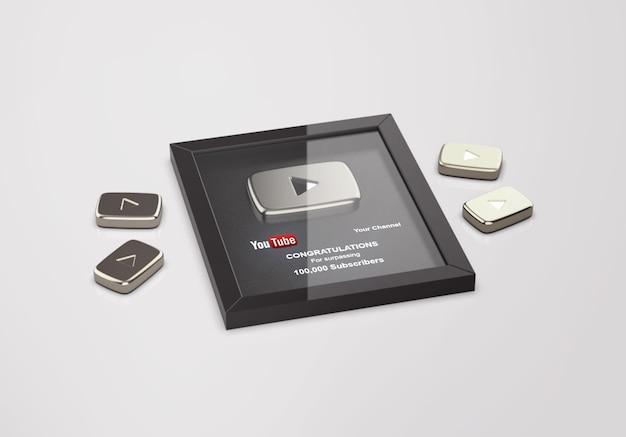 Mockup di youtube con pulsante di riproduzione argento