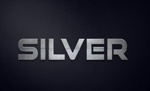 Psd modificabile in stile effetti testo argento