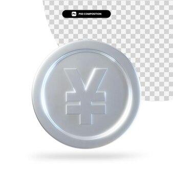 Moneta d'argento yen 3d rendering isolato