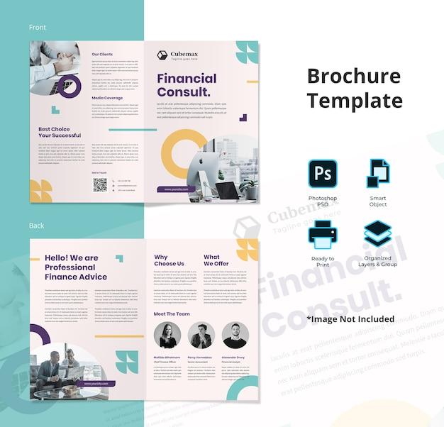 Modello di brochure bifold per consulente finanziario astratto semplice