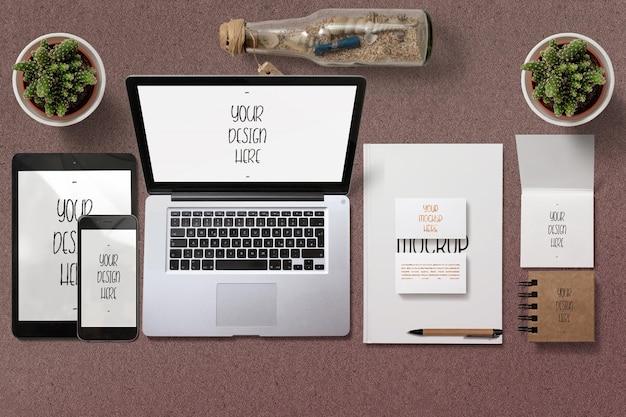 Mockup stazionario di branding semplice