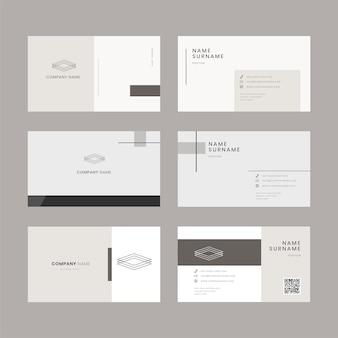 Set di modelli modificabili per mockup di biglietti da visita semplici