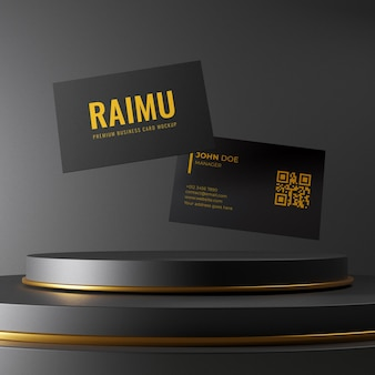 Design semplice ed elegante di mockup di biglietto da visita nero che galleggia sul podio