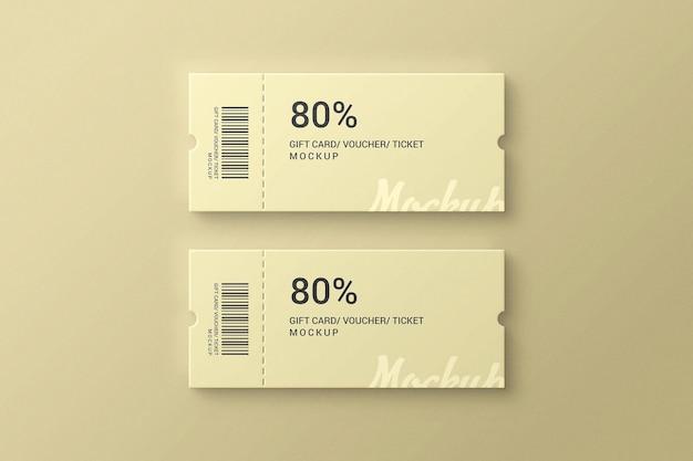 Buono biglietto semplice ed elegante e mockup regalo