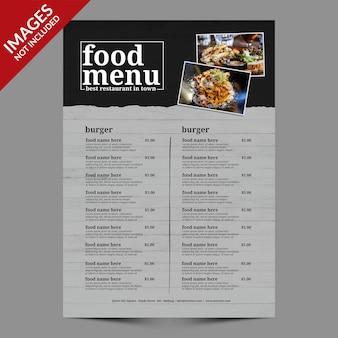 Menu di cibo semplice per ristorante o bar modello premium