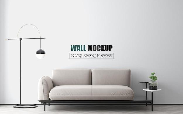 Soggiorno semplice con mockup di pareti di mobili moderni