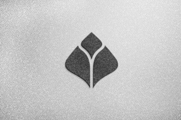 Mockup logo semplice su tessuto bianco