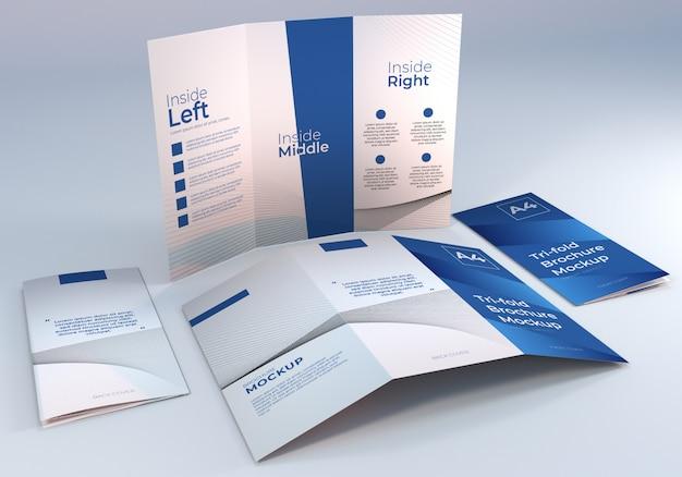 Mockup di carta per brochure a tre ante a4 minimalista semplice