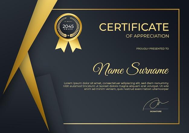 Modello di certificato semplice e moderno in oro nero per webinar di formazione aziendale aziendale online