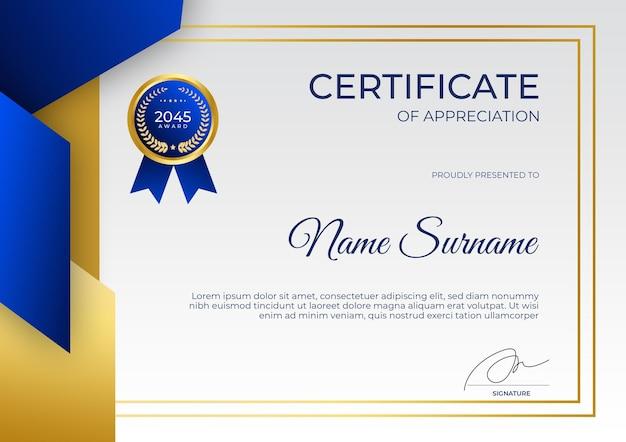 Modello di certificato semplice e moderno in oro blu per aziende e aziende