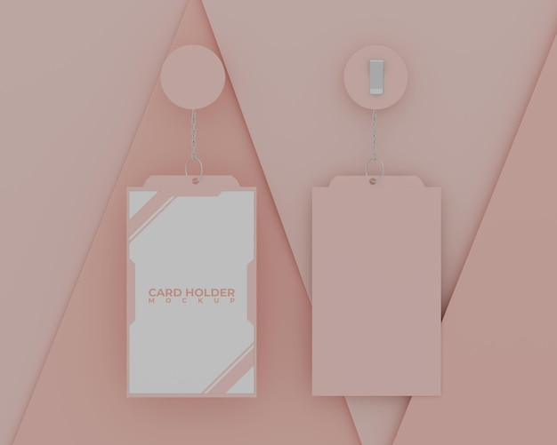Mockup semplice porta carta d'identità rosa