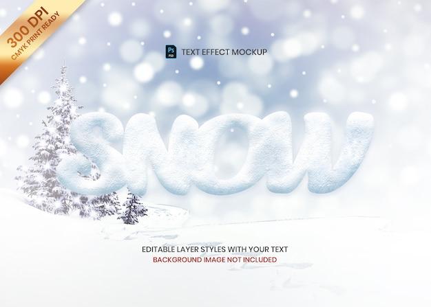 Modello semplice di effetto del testo di logo di struttura della neve