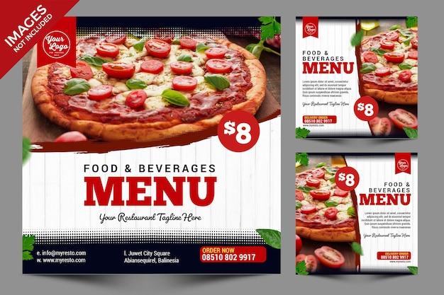 Semplice cibo vintage post di social media combinazione nero bianco e rosso