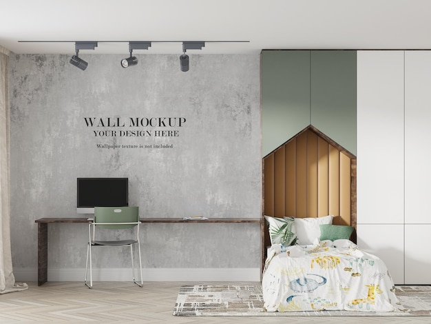 Design mockup a parete per camera singola