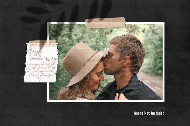 Mockup di moodboard con foto singola con una nota o moodboard di memoria di celebrazione