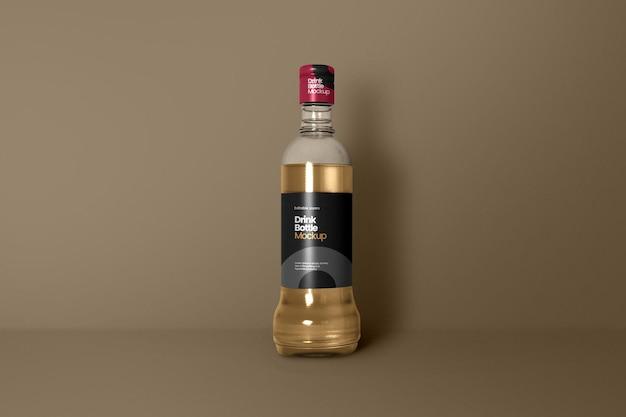 Vista frontale del modello di bottiglia di vino singola
