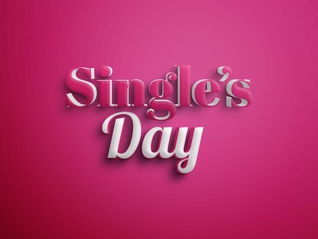 File psd di effetti di testo per single day