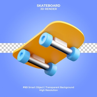 Skateboard 3d render illustrazione isolato premium psd