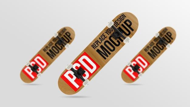Progettazione di mockup di skateboard 3d rendering