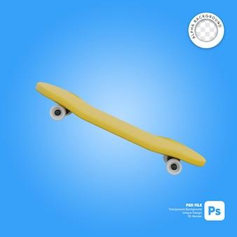 Skateboard in stile cartone animato vista laterale oggetto 3d
