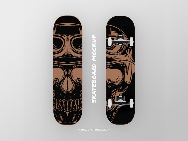 Skateboard mockup in alto e in basso - fianco a fianco