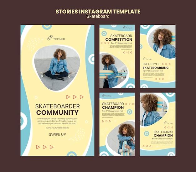 Modello di storie di instagram di concetto di skateboard