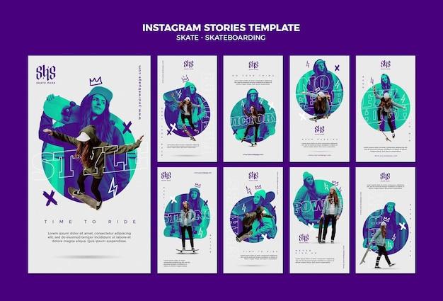 Modello di storie di instagram di skateboard