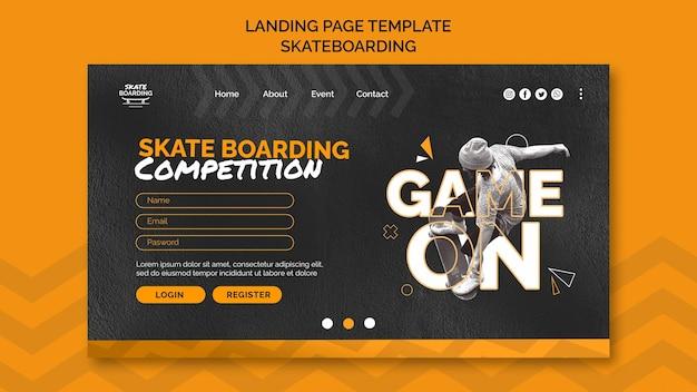 Modello di pagina di destinazione per lo skateboard con foto