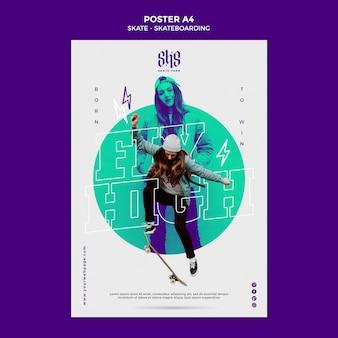 Modello di poster di stile di vita skateboard