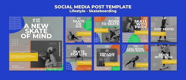 Modello di post sui social media per lo skateboard