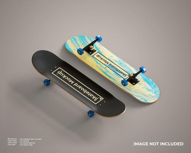 Mockup di skateboard in vista dall'alto e dal basso