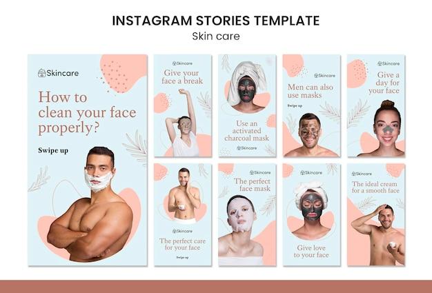 Design del modello di storia di insta per la cura della pelle