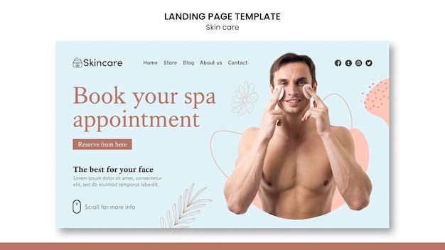 Design del modello di pagina di destinazione per la cura della pelle