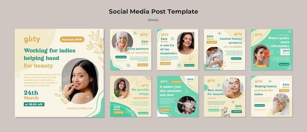 Post sui social media dei prodotti per la cura della pelle