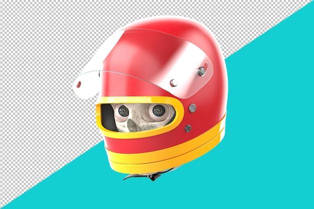 Teschio in un casco da corsa rosso. illustrazione 3d